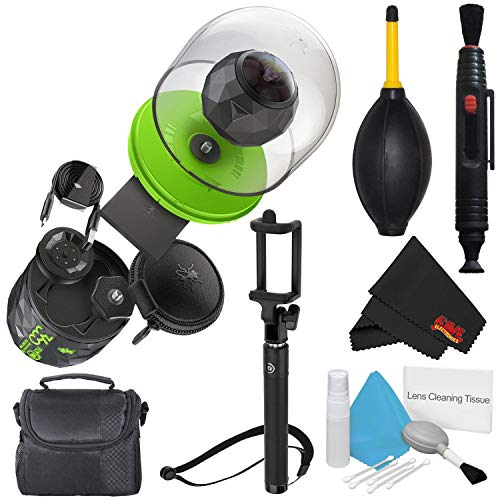 360fly 4K Video Camera FLYC4KC01BEN + Deluxe Selfie Stick + Microfiber Cloth + Deluxe Cleaning Kit
