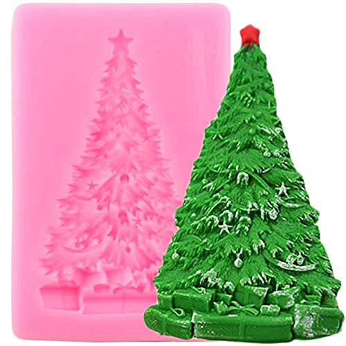 FGHHT Christmas Tree Silicone Molds Christmas Cake Decorating Tools Cupcake Topper Fondant Mold Candy Clay Chocolate Moulds