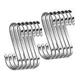 Ganchos en forma de S, 12 unidades, acero inoxidable, ganchos de metal pesado, para colgar ollas y sartenes, plantas, tazas de café, ropa, toallas en cocina, dormitorio, baño, oficina y jardín