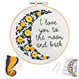 Uphome Embroidery Kit for Beginners 7.9 Inch Hand DIY Cross Stitch Kits with Cute Stamped Patterns Needlepoint Starter Kits with Hoop, Color Threads, Needles, Instruction for Adults Kids Home Decor