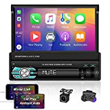 OiLiehu 7 Inch Single Din Car Stereo Radio with HD Retractable Touch Screen Support Mirror Link Compatible with Car Play and Android Auto + 12 Lights Backup Camera