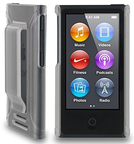 Nakedcellphone Clear Frost Hard CASE Cover with Belt Clip Holster for Apple iPod Nano 7 7th 8th GEN Generation