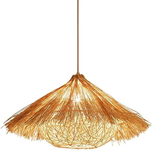 FFLJT Nido de Pájaro hecho a mano araña armadura de la rota de mimbre cortinas de la lámpara Lámpara colgante sudeste asiático retro de techo colgante de luz for la sala de estar, dormitorio