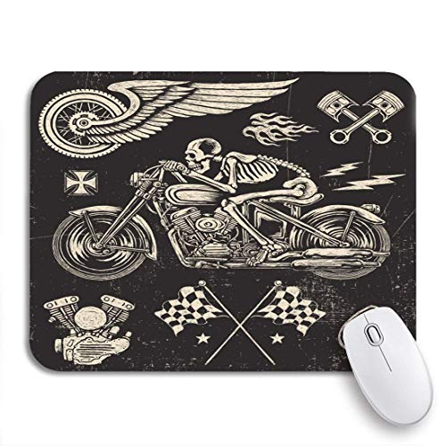 Gaming Mouse Pad Watercolor Vintage Scratchboard Motorcycle Race Skull Skeleton Hand Moto Nonslip Rubber Backing Mousepad for Notebooks Computers Mouse Mats