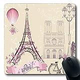 Kiss Mousepad Oblongo Kiss Floral Pariss Monumentos Torre Eiffel Globo aerostático Bicicleta Pareja romántica Marfil Rosa Alfombrilla de ratón de goma antideslizante Ordenador de oficina Ordenador por