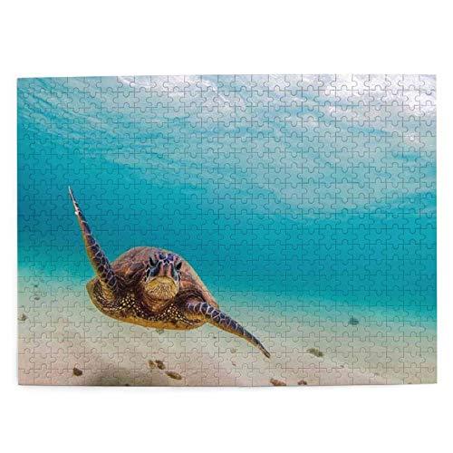 Juego de Puzzle para adultos,Rompecabezas de 500 piezas, juego de rompecabezas de imágenes Buceo submarino Tortuga marina Naturaleza Animal divertido juego educativo para niños y adultos de juguete