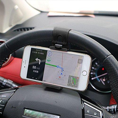 Brinny Auto Lenkrad Handyhalter Telefonhalter GPS Navigation Halter Schnalle Socket ABS PP PVC Lenkrad Ständer (Schwarz)
