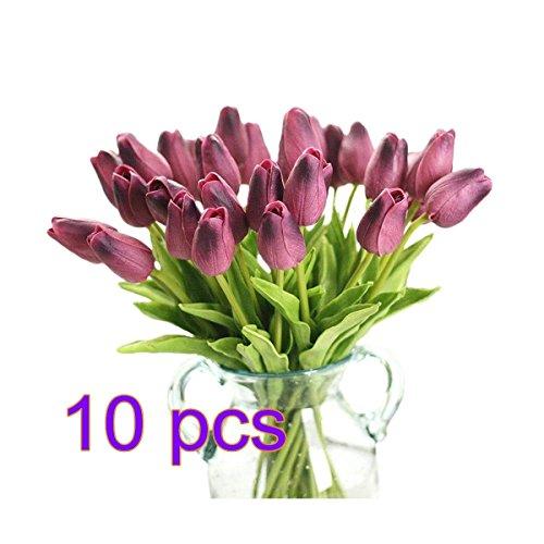 10 pcs Tulipe artificielle, Real-touch Simulation Tulipe Faux Soie Plastique Fleurs pour mariage, pièces, maison, hôtel, décoration de fête et de Saint-Valentin Cadeau de vacances, violet foncé, 10
