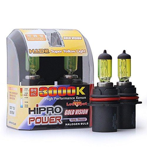 Hipro Power 9007 3000K 65/55 Watt Golden Yellow Xenon HID Halogen Headlight Bulbs - Low/High Beam