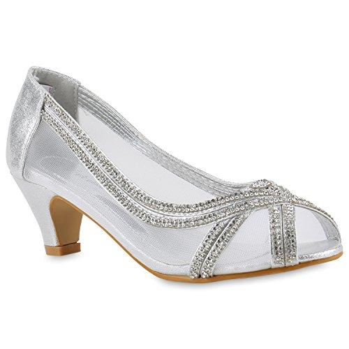 Klassische Damen Pumps Kitten Heels Lack Peeptoes Strass Abend Braut Transparent Stilettos Schuhe 143431 Silber Strass 28 Flandell