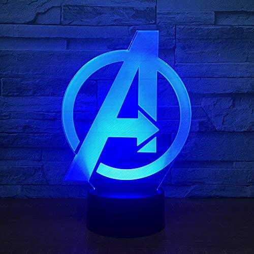FBEST Night Light 3D Kids Lámpara de cabecera 7 Colores Cambiar Avengers Ilusión óptica Night Lights Ideas Regalos de cumpleaños para niños Baby Girls Boys