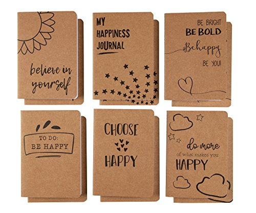 12-Pack Bulk Journals, Kraft Notebook Lined, Pocket Size for Travelers, Students, Diary, 6 Happiness...