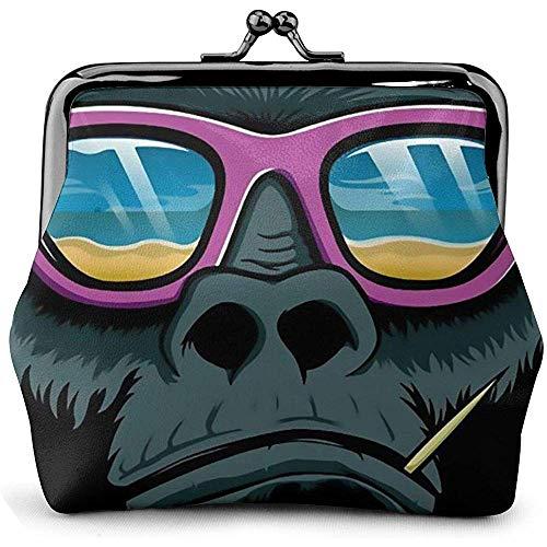 Coole Gorilla Sonnenbrille Leder Münzgeldbörse Küsse Schloss Wechselbeutel Vintage Verschluss Verschluss Schnalle Brieftasche