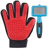 infactory Katzenhandschuh: 2in1-Fellpflege-Set für Hunde und Katzen mit Bürste und Handschuh (Katzenbürste)