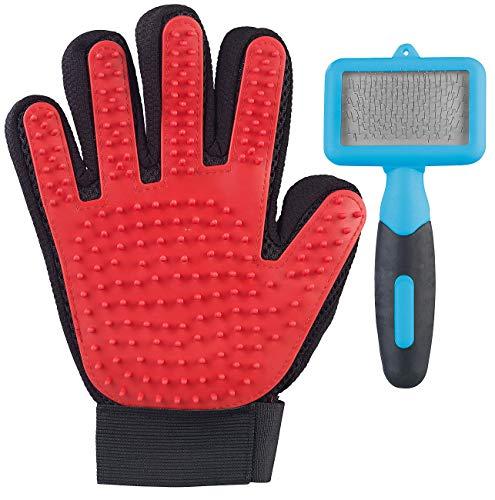 infactory Katzenhandschuh: 2in1-Fellpflege-Set für Hunde und Katzen mit Bürste und Handschuh (Tierhandschuh)
