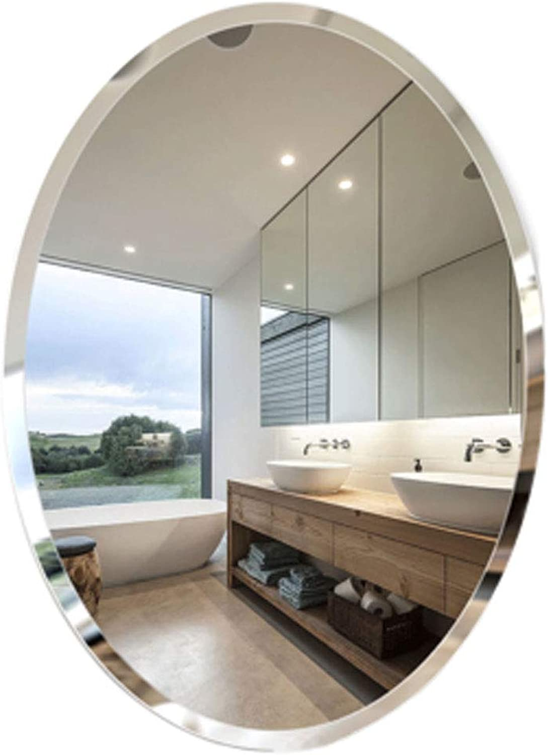 Vanity Mirror Large Circle Wall Mirror Oval Bathroom Vanity Wall Hanging Mirror for Entryways, Washrooms, Living Rooms
