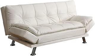 Coaster Home Furnishings Santino Sleeper Sofa Bed with Casual Seam Stitching White