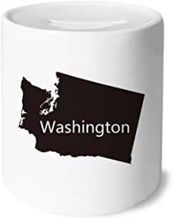 Washington The United States Map Money Box Saving Banks Ceramic Coin Case Kids Adults