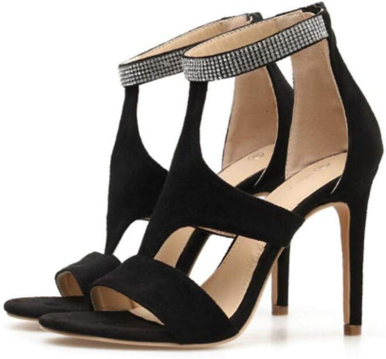 JQfashion Women's High Heels Roman Sandals Diamond Suede Sexy Pointed Thin Heels