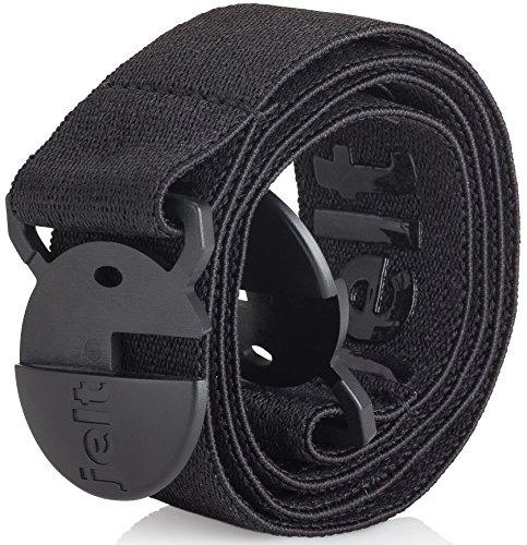 Jelt Elastic Stretch Belt | For Men and Women | Non-Metal | Non-Slip | Made in USA | Black Belt | Medium