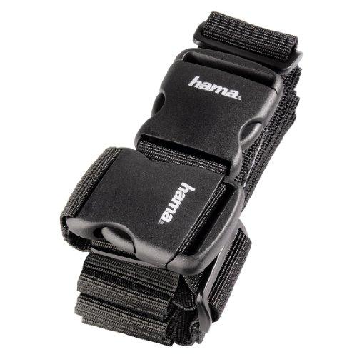 Hama 2-Wege-Gepäckgurt (Doppeltes Band zum sicheren Verschließen der Koffers auf Reisen, 5x200 und 5x230 cm) schwarz