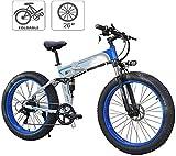Bicicleta de montaña eléctrica, Bicicletas plegables eléctricos for adultos marco de bicicletas de montaña de acero 7 velocidad de 26 pulgadas ruedas dobles Suspensión bicicleta plegable E-Bici de pes