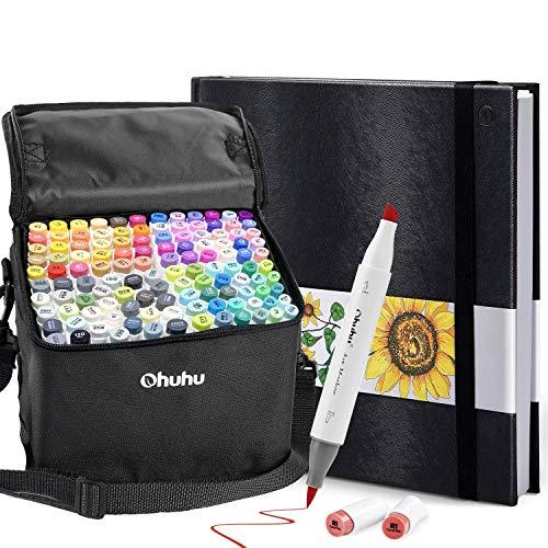 Ohuhu 120 Colors Alcohol Brush Markers (Brush & Chisel, Bonus 1 Colorless Blender) + 8.3