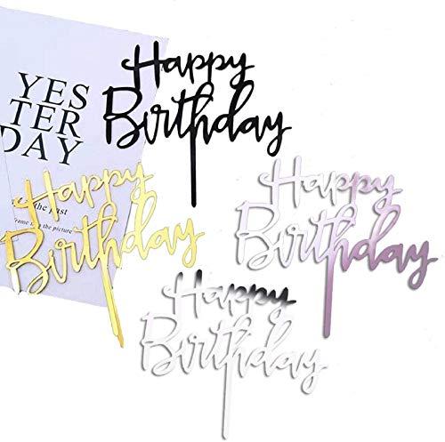 Coriver 12 Pack Happy Birthday Cake Topper, Acrílico Glitter Cupcake Topper para decoraciones de pasteles de cumpleaños (oro, oro rosa, plata, negro * 3)