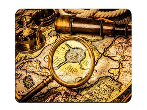 Weltkarte Altes Kompass-Teleskop Lupe Rechteckiges rutschfestes Gummi-Mauspad Kundenspezifisches Desktop-Laptop-Gaming-Mauspad