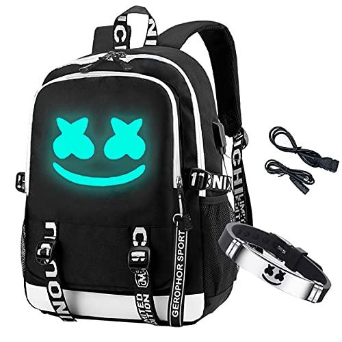 Aithas Smile Luminous Backpack with USB Charging Port & DJ Bracelet, School Laptop Backpack DJ Music Student Daypack Travel Bag Rucksack, Black, Large