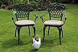 Made for us® 2 Gartenstühle aus wetterfestem Aluguss mit UV beständiger AkzoNobel Einbrennlackierung. Inkl. 2 waschbaren Sitzkissen. Das Original