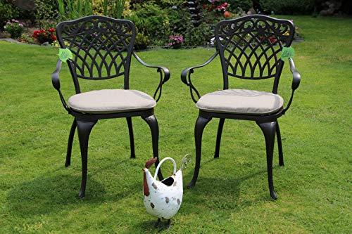 Made for us® Lot de 2 chaises de jardin en fonte d'aluminium résistant aux intempéries avec vernis AkzoNobel résistant aux UV Livré avec 2 coussins lavables
