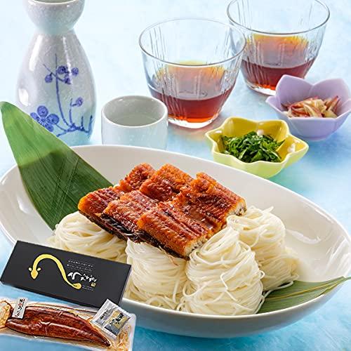 熊本で自社養殖した鰻の蒲焼き大サイズ&肥後そう川手延べ素麺セット