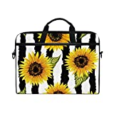 WXLIFE Floral Flower Sunflower Stripe 13 13.3 14 Inch Laptop Shoulder Messenger Bag Case Sleeve Briefcase with Handle Strap for Men Women Boys Girls