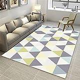 Alfombra Dormitorio Laminas Infantiles para Habitacion Amarillo Azul Gris triángulo patrón Moderno Minimalista diseño gráfico Alfombras Pasillo Modernas 80X120cm