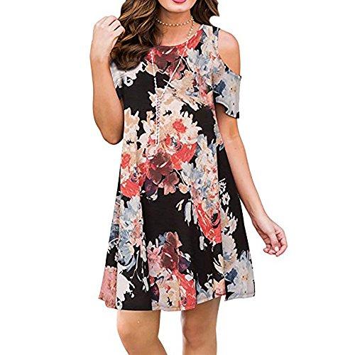 Teeuiear Women's Vintage Off Shoulder Summer Ethnic Style Floral Print Casual Beach Midi A-Line Dress (XL, Black Red)