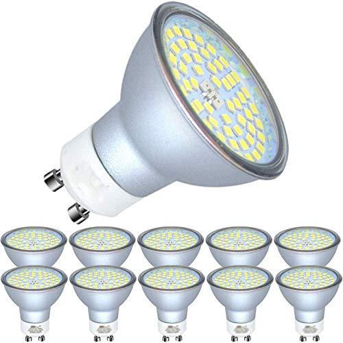 GU10 Bombillas LED 6000K Luz Blanca fría 450 lúmenes Reemplazo para lámpara incandescente halógena de 50 W Sin Foco estroboscópico Sin Reflector de Parpadeo Bombilla, Paquete de 10,6W
