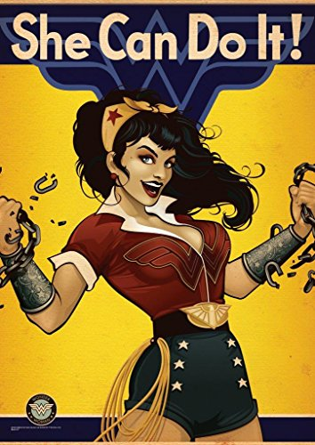 """MightyPrint DC Comics - Bombshell Wonder Woman - Justice League - Durable 17"""" x 24 Wall Art – NOT Made of Paper – Officially Licensed Collectible"""