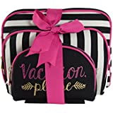 Once Upon A Rose 3 Pc Cosmetic Bag Set, Purse Size Makeup Bag for Women, Toiletry Travel Bag, Makeup Organizer, Cosmetic Bag for Girls Zippered Pouch Set, Large, Medium, Small (Vacation Please)
