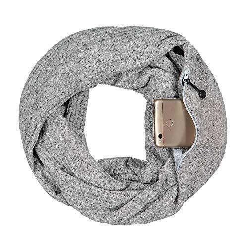 Pop Fashion Warmin-Up Pocket Scarf - Lightweight Knot Travel Scarves, Infinity Scarves with Zipper Pockets (Grey)