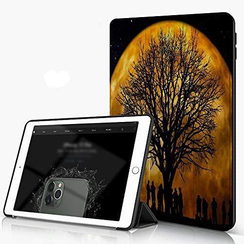 She Charm Carcasa para iPad 10.2 Inch, iPad Air 7.ª Generación,Astronomical Wonders Psychedelic Starry Sky Árbol y Gente Sombra,Incluye Soporte magnético y Funda para Dormir/Despertar