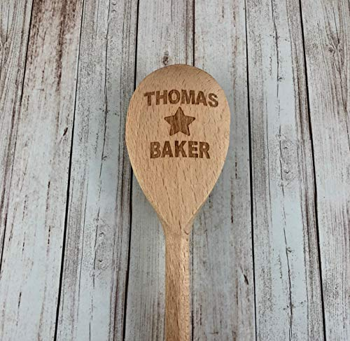 Memories & Gifts Ltd Personalised Engraved Your NAME Star Baker Wooden Spoon Fun Baking Helper Fun Birthday Gift Mothers Day
