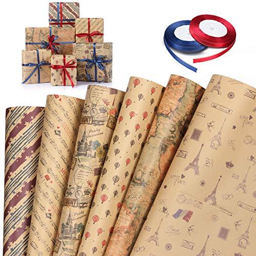 Wodasi 6 Bögen Geschenkpapier und 2 Rolle Band, Geschenkpapier Kinder, Geschenkpapier Geburtstag, Geschenkverpackung Papier für Ostern, Weihnachten, DIY, Valentinstag, 74 x 51 cm