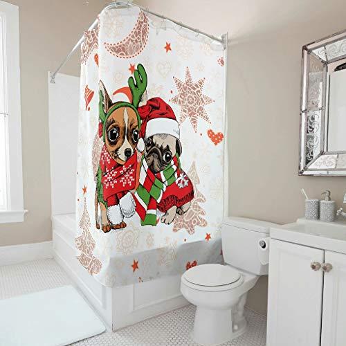 XJJ88 - douchegordijn personaliseren waterdichte badgordijnen ringen inclusief kerst bloem dierlijke patronen stijl diversiteit voor bad kamer decor