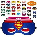 Pitaya Máscaras de Superhéroe, Juguetes para Niños y Niñas , Máscaras para Niños, Kit de Valor de Cosplay de diseño de Fiesta de cumpleaños de Navidad-36Piezas