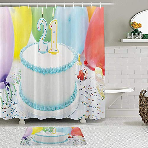 GOCHAN Duschvorhang,Kuchen mit bunten Luftballons Bild, rutschfeste Badematte, Toilettenteppich Anzug