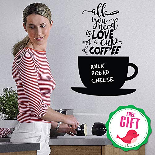 Chalkboard Coffee Wall Decals Quotes for Kitchen - Perfect Blackboard Coffee Lovers Gift Stickers - Best Fridge Cup Vinyl Art with Bonus!