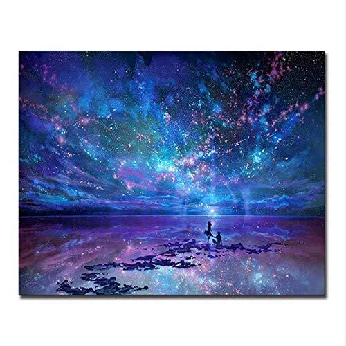 cmhai (Kein Rahmen) Fantasie Romantische Stern Meer DIY Malen Nach Zahlen Sternenhimmel Aurora Ölbilder Hand Malen Färbung Leinwand Home Wandkunst Dekor