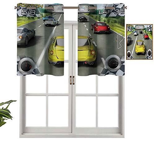 Hiiiman Panel de cortina de bloqueo UV para carreras de coche, diseño de carreras de velocidad, para competición de carreras de vehículos, juego de 1, 137 x 45 cm para habitación de niños