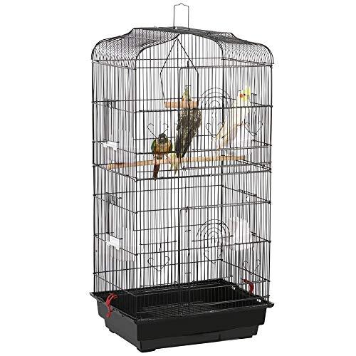 Yaheetech Vogelkäfig käfig Vogelvoliere Vogelhaus für Papagei Wellensittich finken kanarienvögel Schwarz 46 x 36 x 92cm